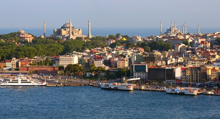 islamic scenery: Hagia Sofia and Blue Mosque from Galata Tower