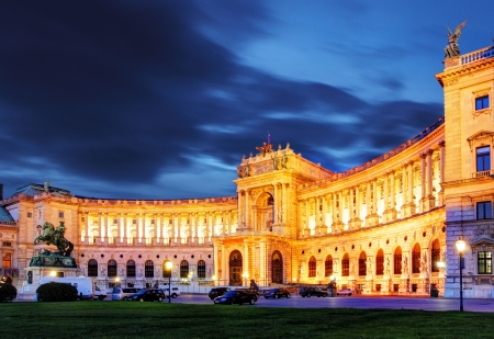밤 비엔나 호프 부르크 왕궁 정원, 오스트리아