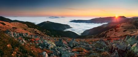 ini: Mountain panorama at sunset with path - Low Tatras ini Slovakia Stock Photo