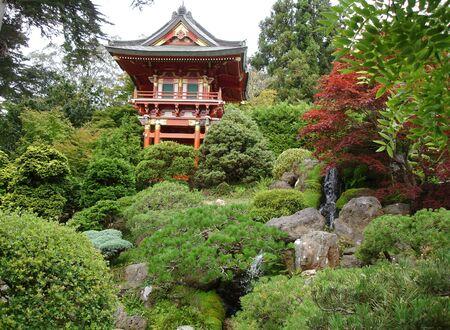 japanese garden: Japanese garden with house, San Francisco