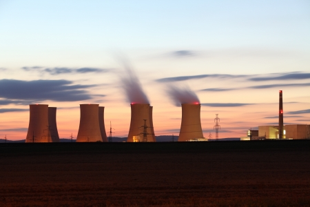 exhalation: Nuclear power plant by sunset