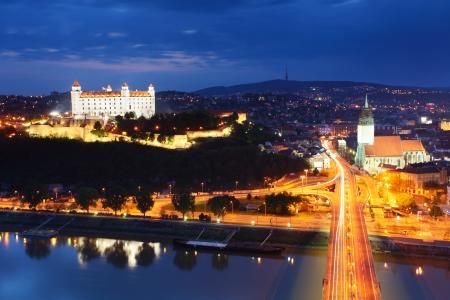 bratislava: Bratislava at twilght from new bridge