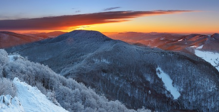 Winter sunset in mountain with cloud - Slovakia Stock Photo - 17182774