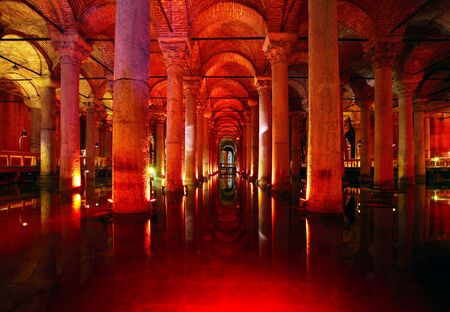 justinian: Underground basilica cistern   Byzantine water reservoir build by Emperor Justinianus - Turkey, Istanbul Editorial