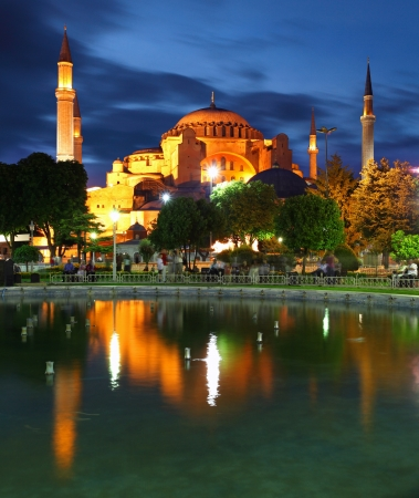 hagia: Hagia Sofia with reflection - Isntanbul, Turkey Stock Photo