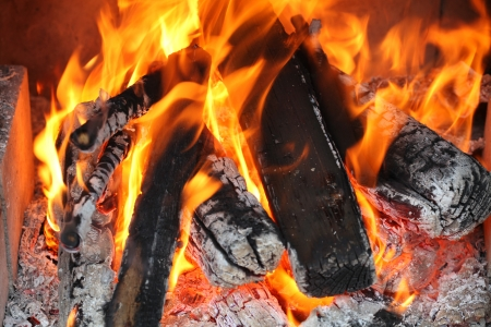 Fire in a fireplace Stock Photo - 17309816