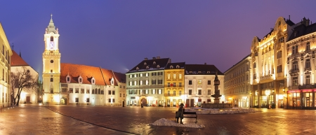 town centre: Bratislava Main Square at night - Slovakia