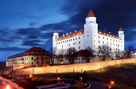 Bratislava castle from parliament at twilight  with dramatic clouds - Slovakia