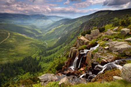 Pancavsky waterfall in Krkonose mountain - Czech republic Stock Photo