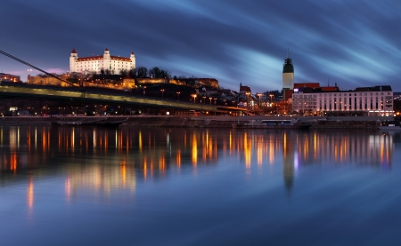 Bratislava castle at night - Slovakia Stock Photo - 17465843