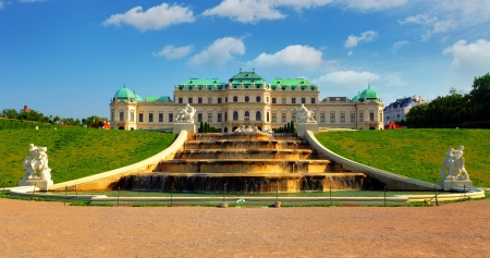 Vienna - Belvedere Palace with flowers - Austria  Stock Photo