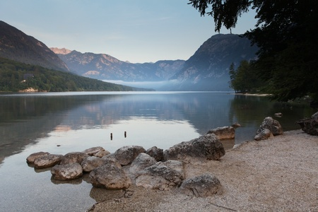 Beautiful view. Lake, mountain, reflection. Lake Bohinj. Slovenia photo