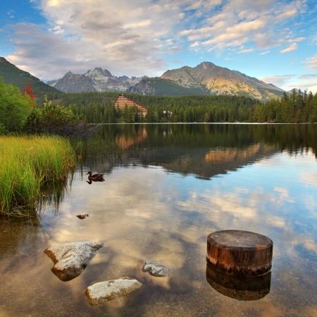 Mountain Lake in Slovakia Tatra - Strbske Pleso with dramatic clouds Stock Photo - 17613060