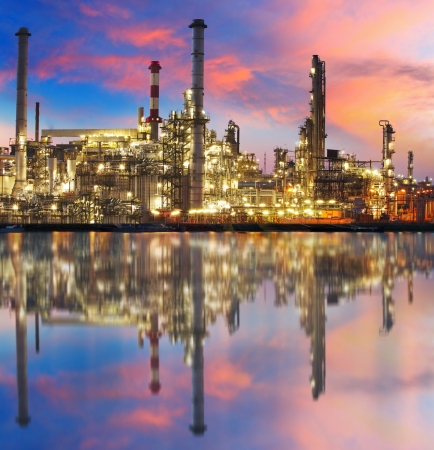 to plant structure: Oil gas refinery with reflection, factory,  petrochemical plant