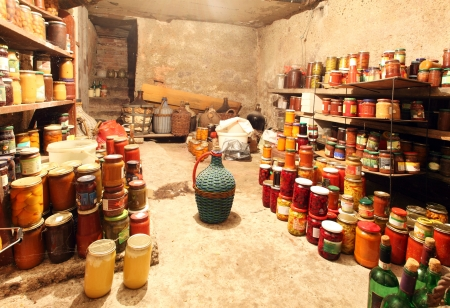 canning: Old Cellar  - pantry with food
