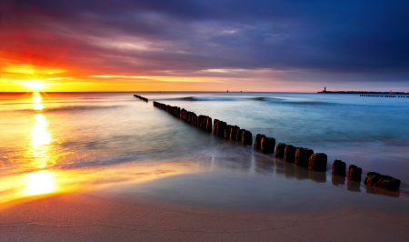 Baltic sea at beautiful sunrise in Poland beach. Stock Photo - 17613132