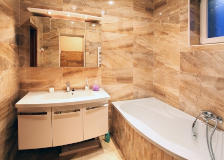 way of living: Modern house bathroom interior Stock Photo