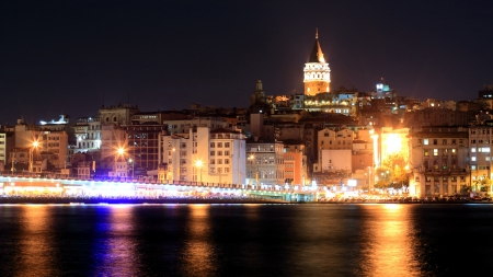 istanbul night: View of Istanbul and Galata tower and bridge at night
