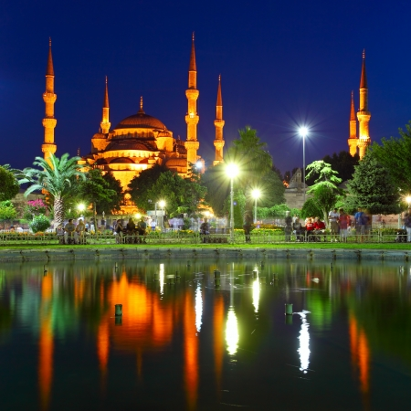 istanbul night: Blue Mosque with reflection - Istanbul