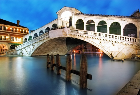 Along Rialto Bridge, Venice at dramatic sunset Stock Photo - 17768599