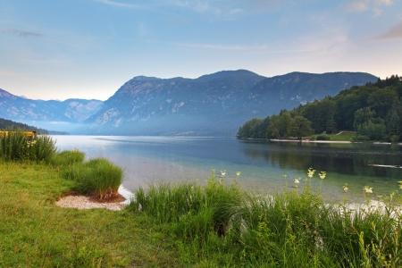 slovenia: Beautiful view  Lake, mountain, reflection  Lake Bohinj  Slovenia