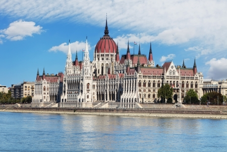 Hungarian parliament from castle - Hungary Stock Photo