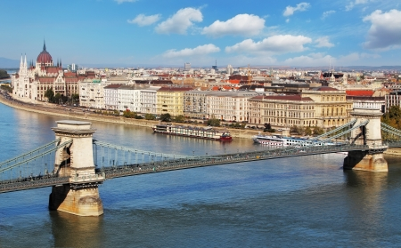 parliament: Budapest - panorama from castle, Hungary Stock Photo