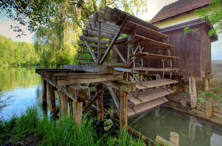 wood turning: Rustic watermill with wheel