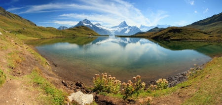 Bachalpsee - lake with mountain in the Swiss Alps  Switzerland - Grindelwald - Interlaken photo