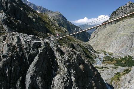 bridge in nature: Trift suspension footbridge Windegg, Europe