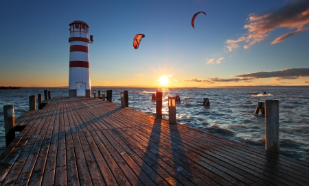 wooden beams: Lighthouse at Lake Neusiedl at sunset