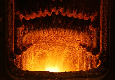 fuel chamber: Fire in furnace Stock Photo