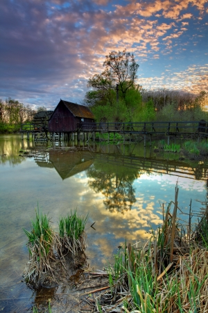 watermill: Small Danube in Slovakia with watermill