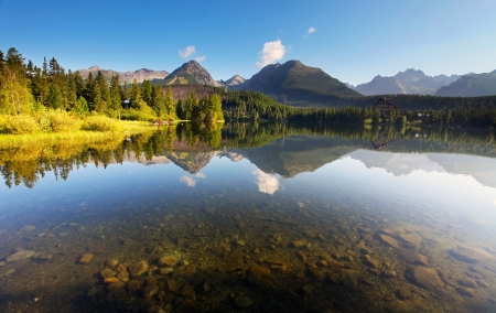 reflection in mirror: Nature mountain scene with beautiful lake in Slovakia Tatra - Strbske pleso Stock Photo