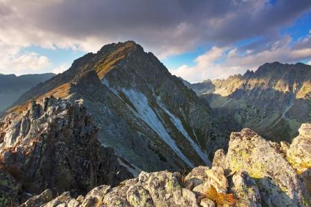 Mountain sunset panorama at autumn in Slovakia - High Tatras photo
