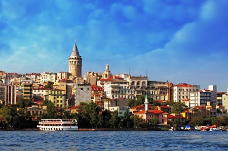 Istanbul with dramatic clouds - Galata district, Turkey photo