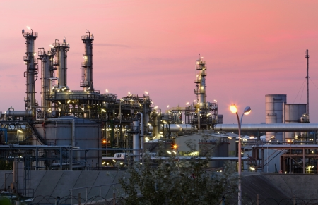 Oil and gas industry - refinery at twilight photo