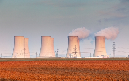 Nuclear power plant with clouds Stock Photo - 18385331