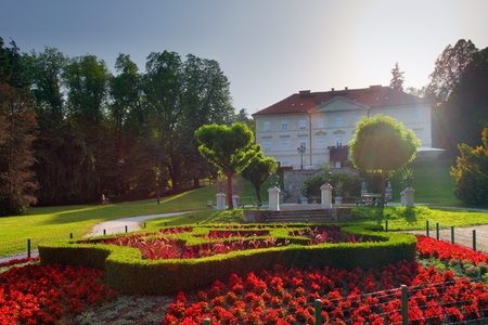 ljubljana: Slovenia Ljubljana Tivoli castle and flowers vertical view Stock Photo