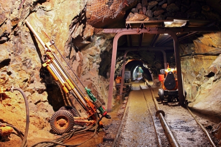 catacomb: Underground train in mine, carts in gold, silver and copper mine