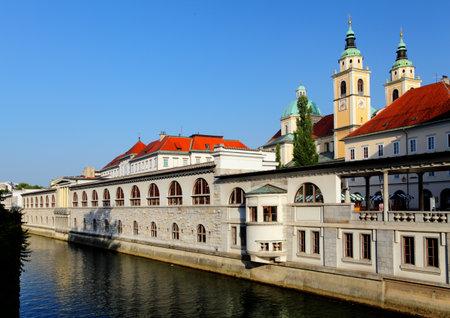River in Ljubljana from Dragon Bridge - Slovenia