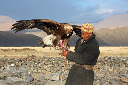 horseman: Il cavaliere mongolo anziano in abiti tradizionali con aquila reale durante il festival di nome The Golden Eagle Festival 25 luglio 2011, la Mongolia - Deserto Editoriali