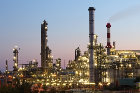 global industry: Oil and gas industry - refinery at twilight - factory