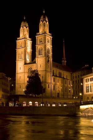 Grossmunster (The Great Cathedral) is the most representative landmark of Zurich city, Switzerland. photo