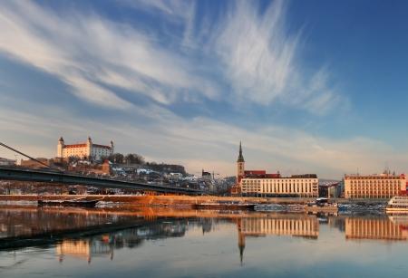 bratislava: Embankment of the Danube in Bratislava Stock Photo