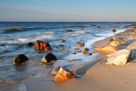 cliff edge: Stones on shore of the Baltic Sea.
