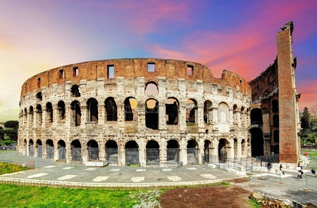 italian architecture: Colosseum in Rome at sunset, Italy