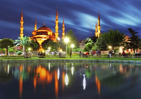 istanbul night: Istanbul - Blue mosque at night, Turkey Editorial