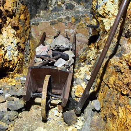 Mine symbol - hammer and wheelbarrow photo
