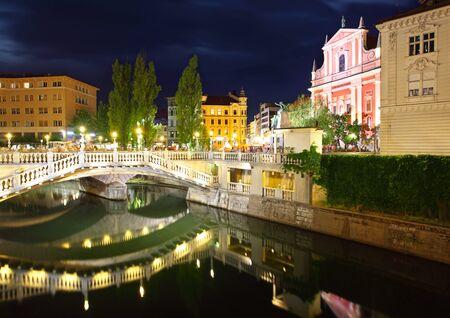 ljubljana: Ljubljana at night, with the Triple Bridge and Franciscan Church, Slovenia